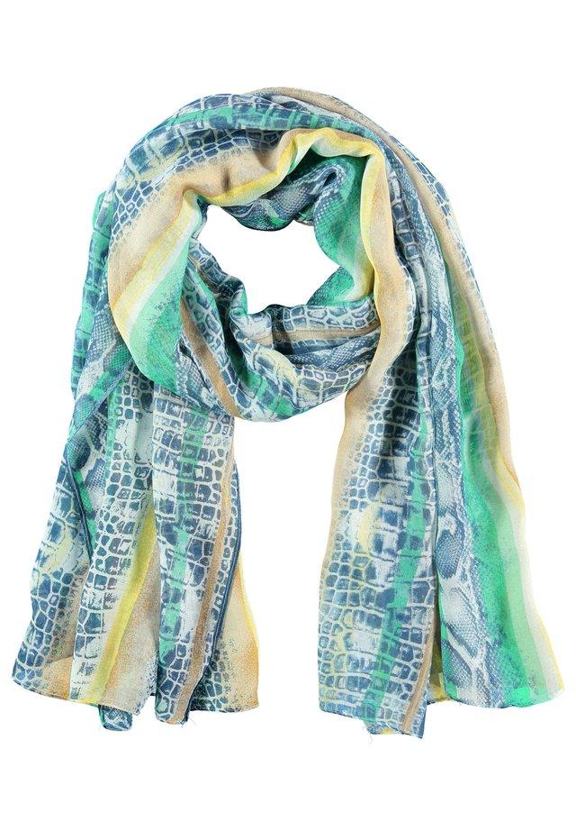 MIT GEMUSTERTEM STREIFEN - Schal - grün/blau gemustert