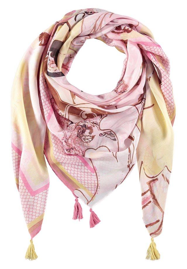 MIT TASSELN - Sjaal - rosa/ tabak/ flamingo druck