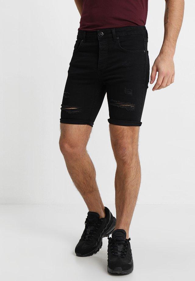 DISTRESSED - Szorty jeansowe - black