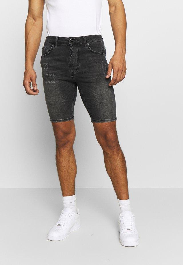 SKINNY DISTRESSED SHORTS - Szorty jeansowe - black