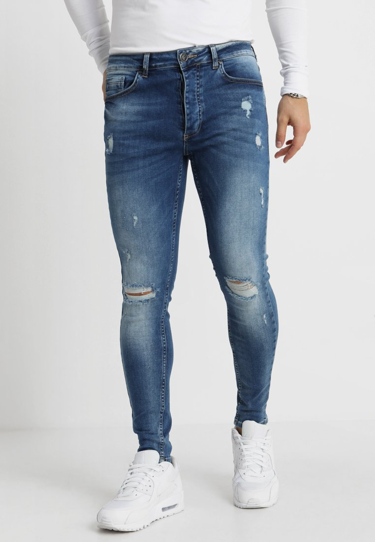 Gym King - DISTRESSED - Jeansy Skinny Fit - mid wash blue