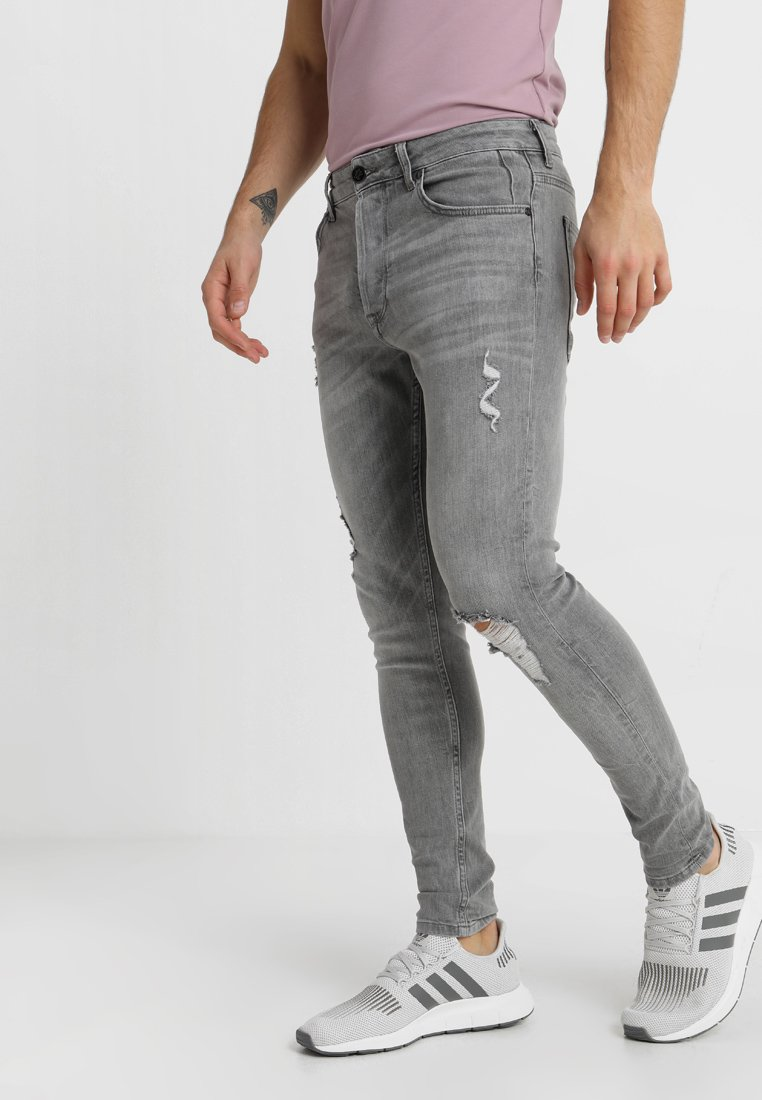Gym King - DISTRESSED - Jeansy Skinny Fit - mid grey