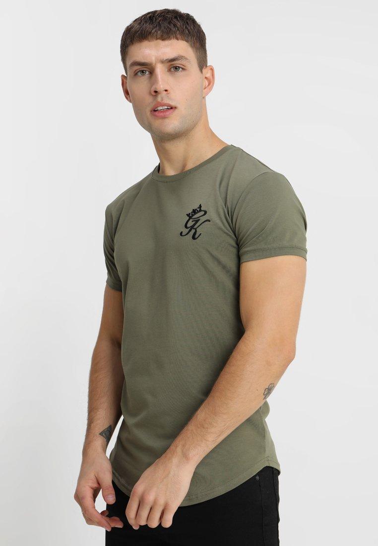 Olive Curve shirt King Line Long Gym Burnt TeeT Imprimé kOn0wP
