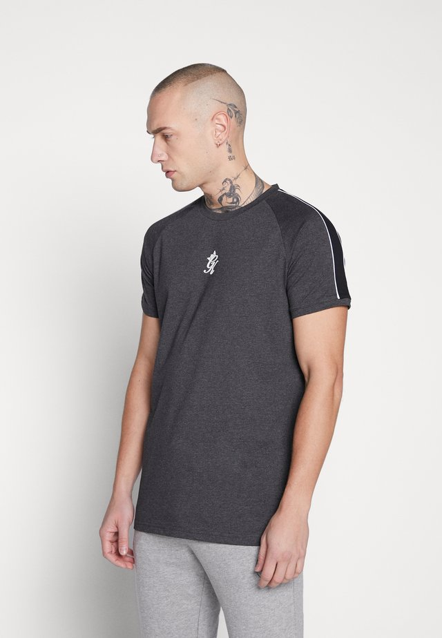 WITH TAPING - T-shirt imprimé - charcoal marl/black