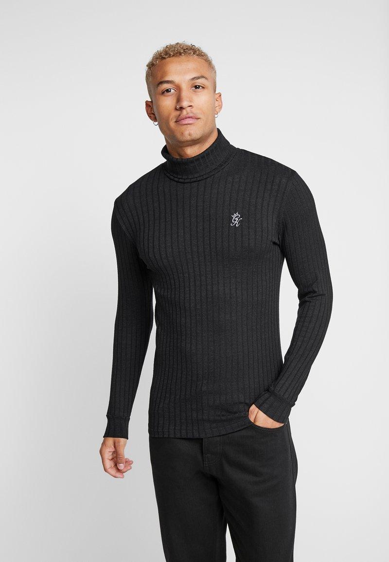Gym King - MUSCLE FIT ROLL NECK  - Stickad tröja - black