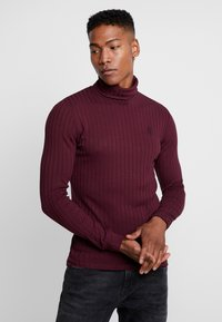 Gym King - MUSCLE FIT ROLL NECK JUMPER  - Strikkegenser - port - 0