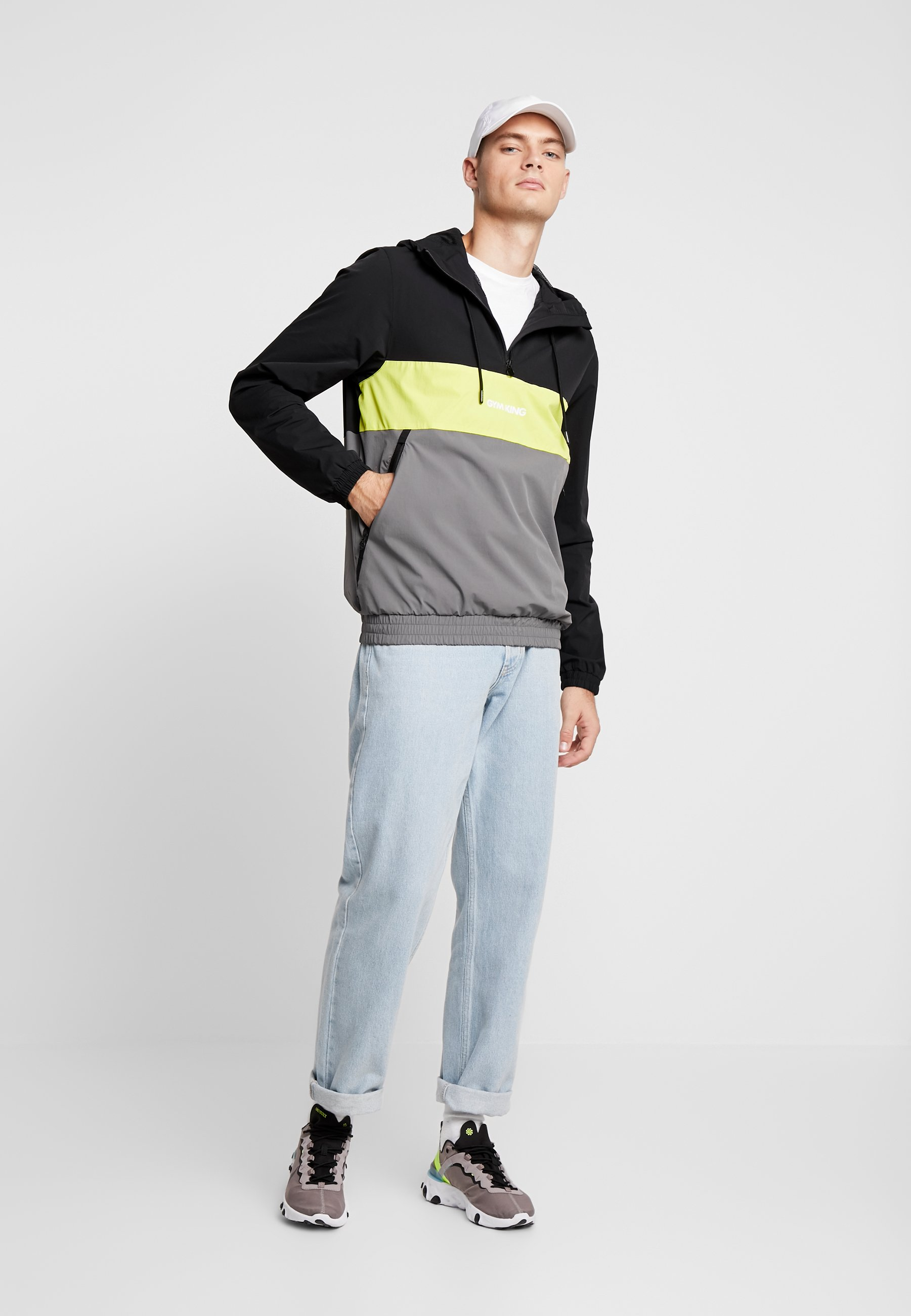 Gym King Shore Hooded Overtop - Korte Jassen Dark Grey/neon Yellow/black