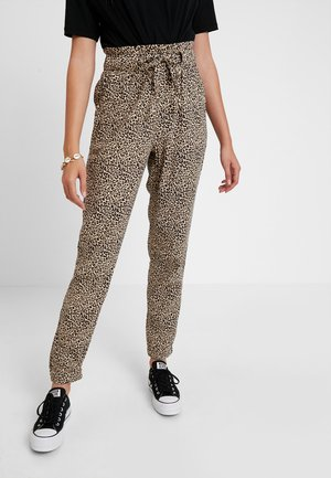 PAPERBAG WAIST - Bukse - beige/black