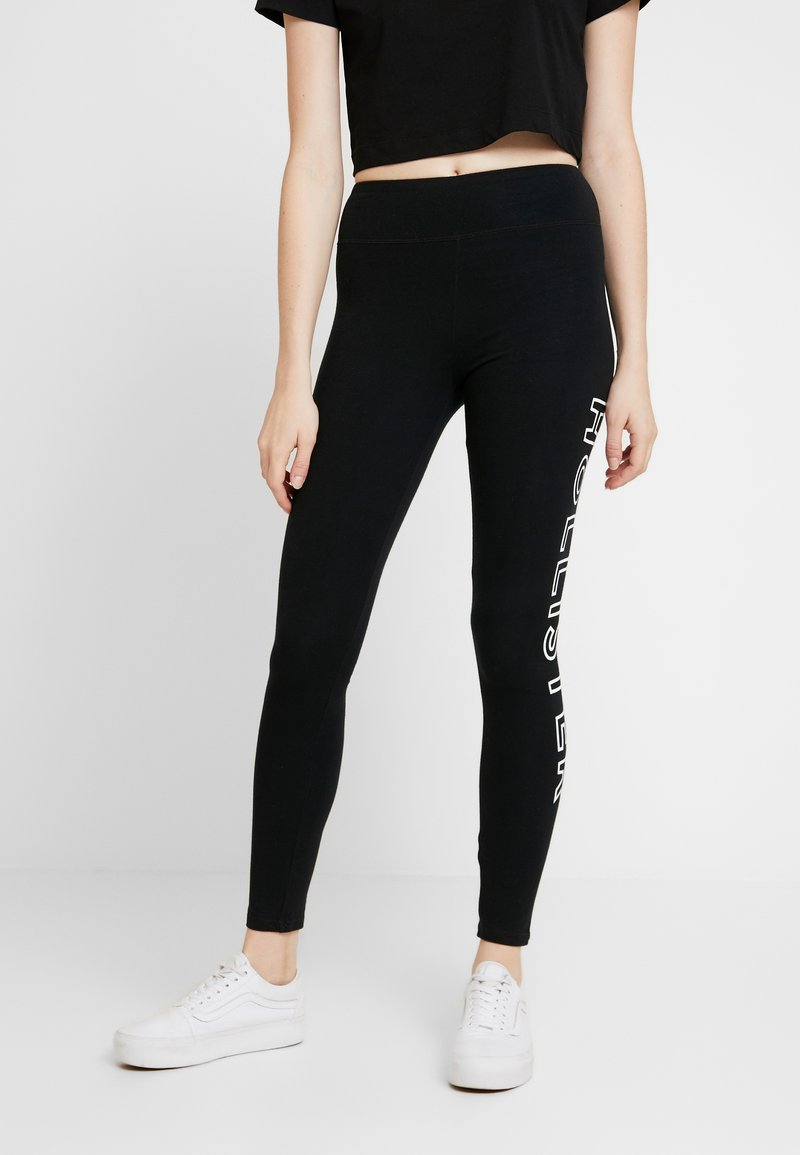 Hollister Co. - ROSE GRAPHIC - Leggings - Trousers - black
