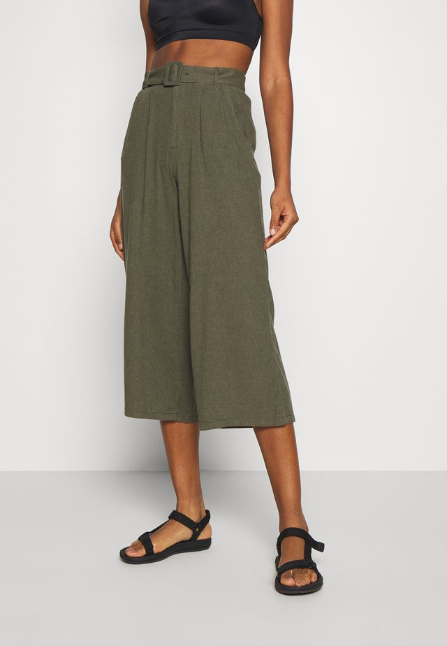 WIDE LEG  - Trousers - olive