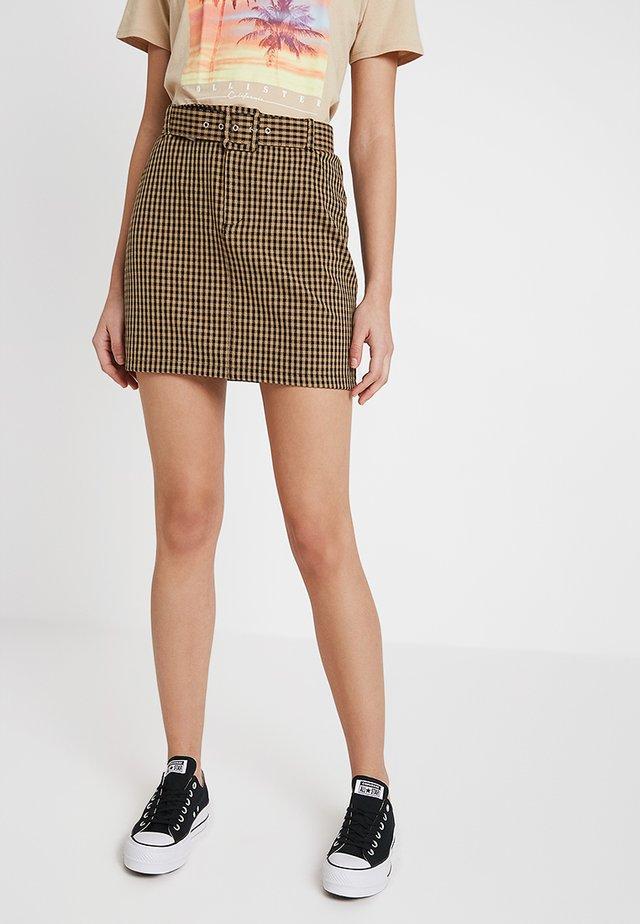 BELTED SKIRT - Minifalda - beige