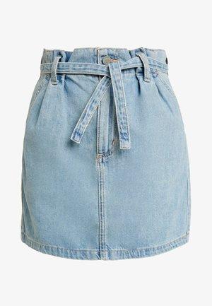 ULTRA HIGH RISE PAPER BAG WAIST SKIRT - A-line skirt - light blue denim