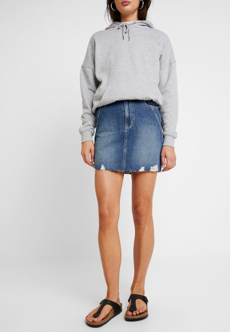 Hollister Co. - SKIRT - Denimová sukně - dark wash