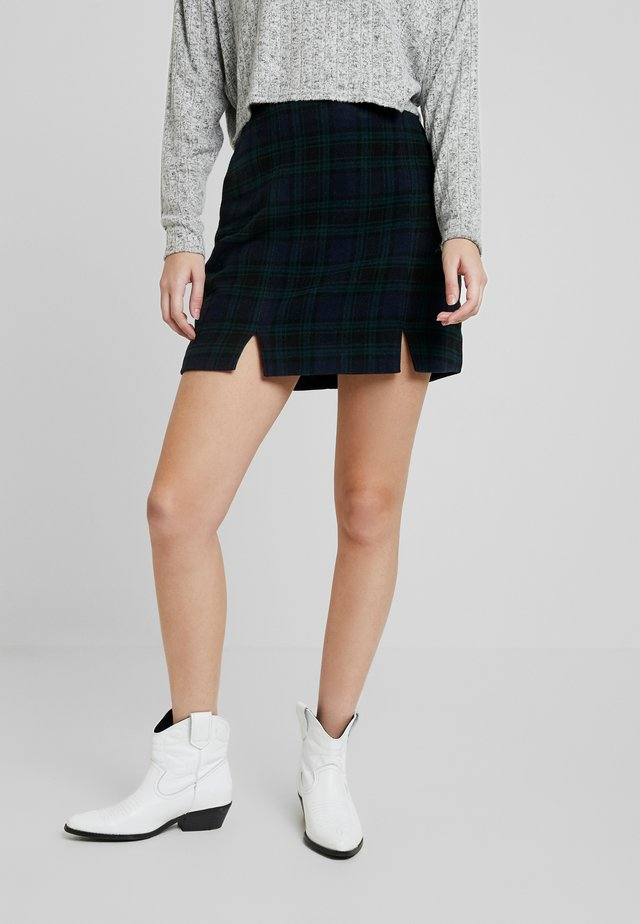 DOUBLE SLIT - Mini skirt - navy/green