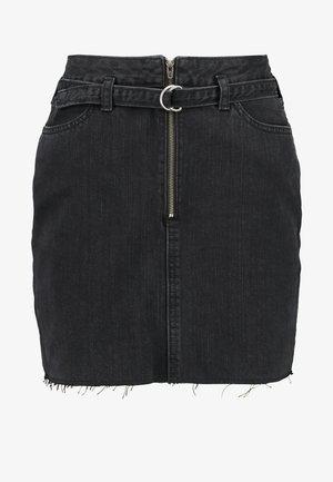 RING BELT - Gonna di jeans - black