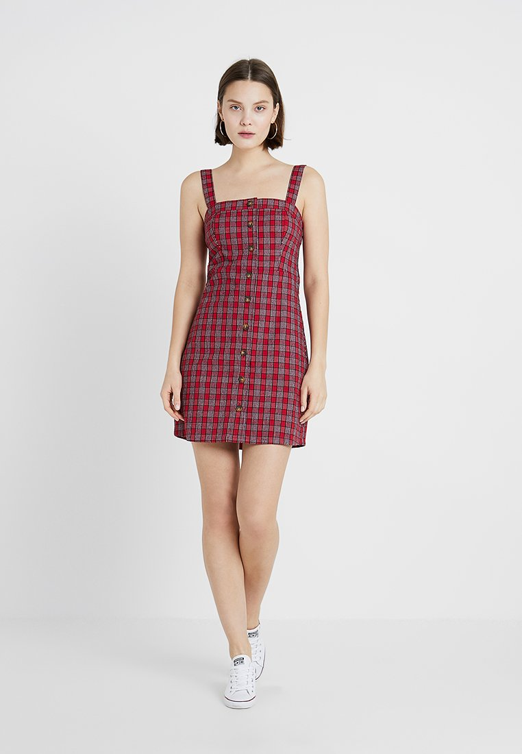 Hollister Co. - STRAPPY BUTTON THROUGH DRESS - Blusenkleid - red plaid