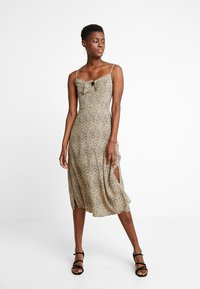 Hollister Co. - MIDI DRESS - Kjole - beige/black - 1