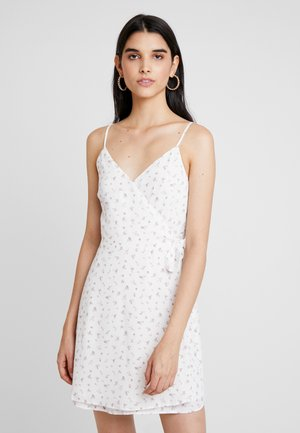 WRAP SHORT DRESS - Day dress - white ditsy