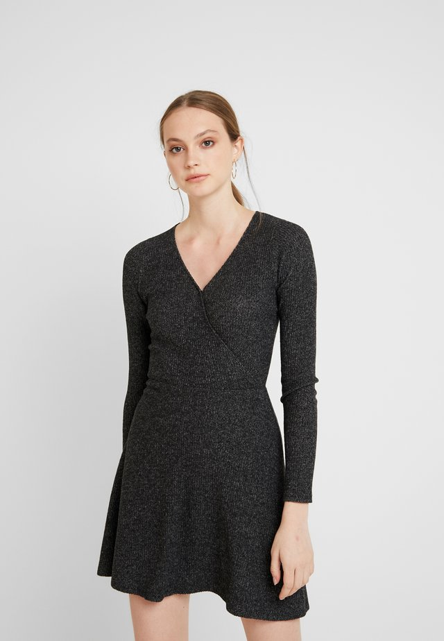 ASYM BRUSH DRESS - Jerseyjurk - dark grey