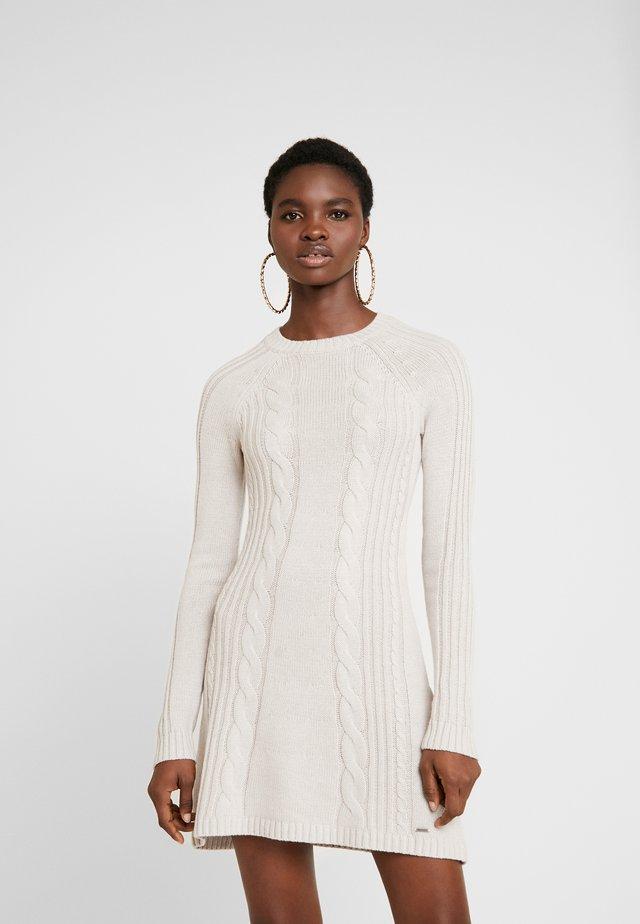 MOCK A-LINE DRESS - Stickad klänning - oatmeal