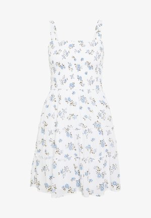 SMOCKED TIER BARE DRESS - Denní šaty - white ditsy