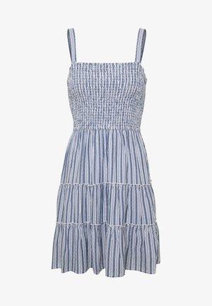 SMOCKED TIER BARE DRESS - Freizeitkleid - blue/white