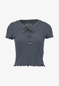 Hollister Co. - LETTUCE LACE UP BABY TEE - Triko s potiskem - navy - 3