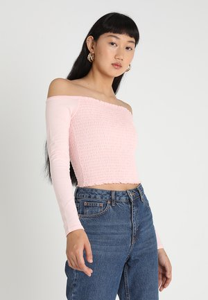 LONG SLEEVE OFF THE SHOULDER - Top s dlouhým rukávem - blush