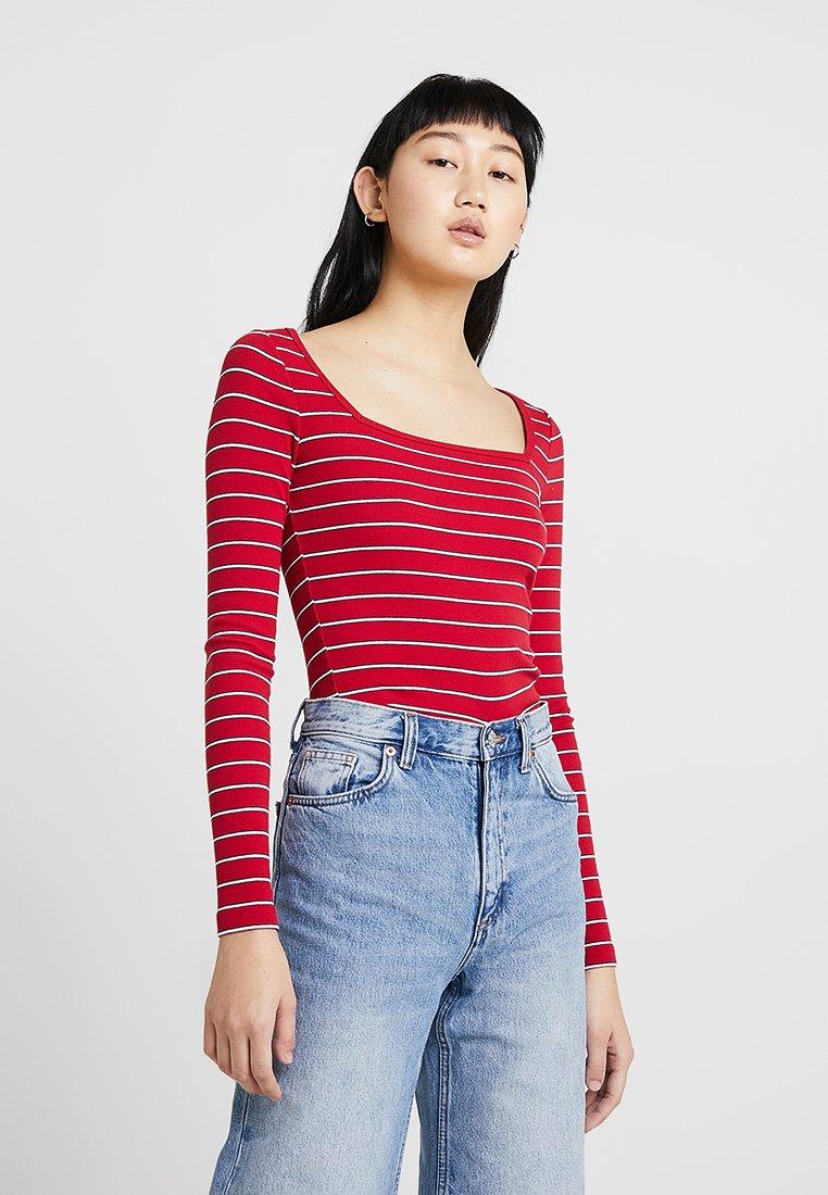 Hollister Co. - LONG SLEEVE SLIM SQUARE NECK - Langarmshirt - red stripe