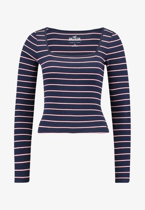 LONG SLEEVE SLIM SQUARE NECK - Top s dlouhým rukávem - navy