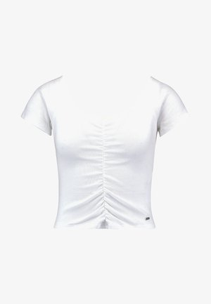 SLIM V NECK CINCH FRONT CROP - Print T-shirt - white