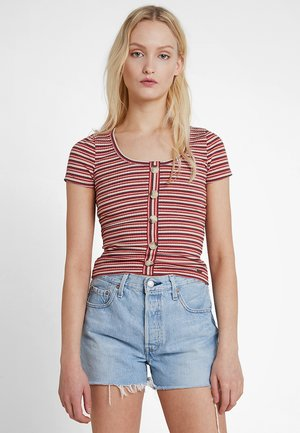 SLIM HENLEY - T-Shirt print - red