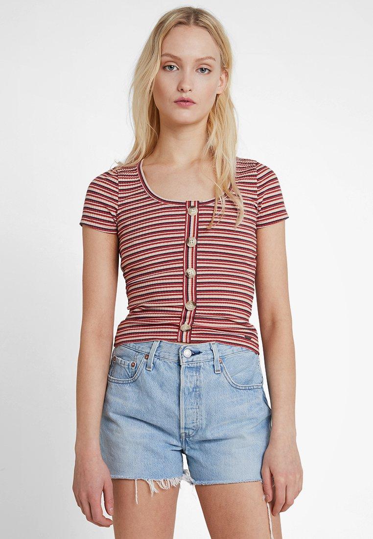 Hollister Co. - SLIM HENLEY - T-Shirt print - red