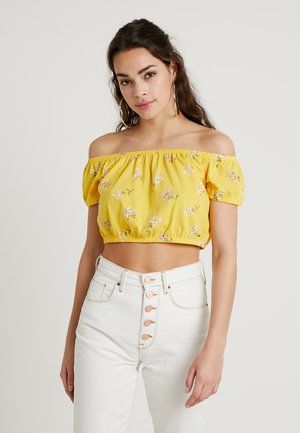 SHORT SLEEVE ULTRA CROP PUFF SLEEVE CINCHED - Triko s potiskem - yellow