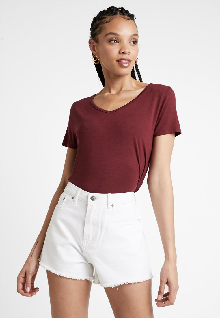 Hollister Co. - SHORT SLEEVE EASY VEE TEE - T-shirt - bas - burgundy