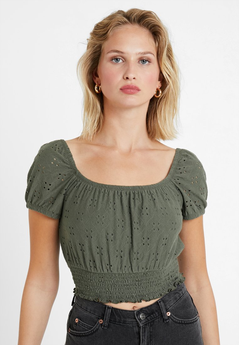 Hollister Stampa Con CropT The shirt CoShort Off Sleeve Green Shoulder OXkZPui