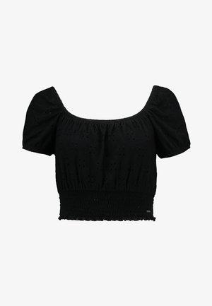 SHORT SLEEVE OFF THE SHOULDER CROP - Camiseta estampada - black