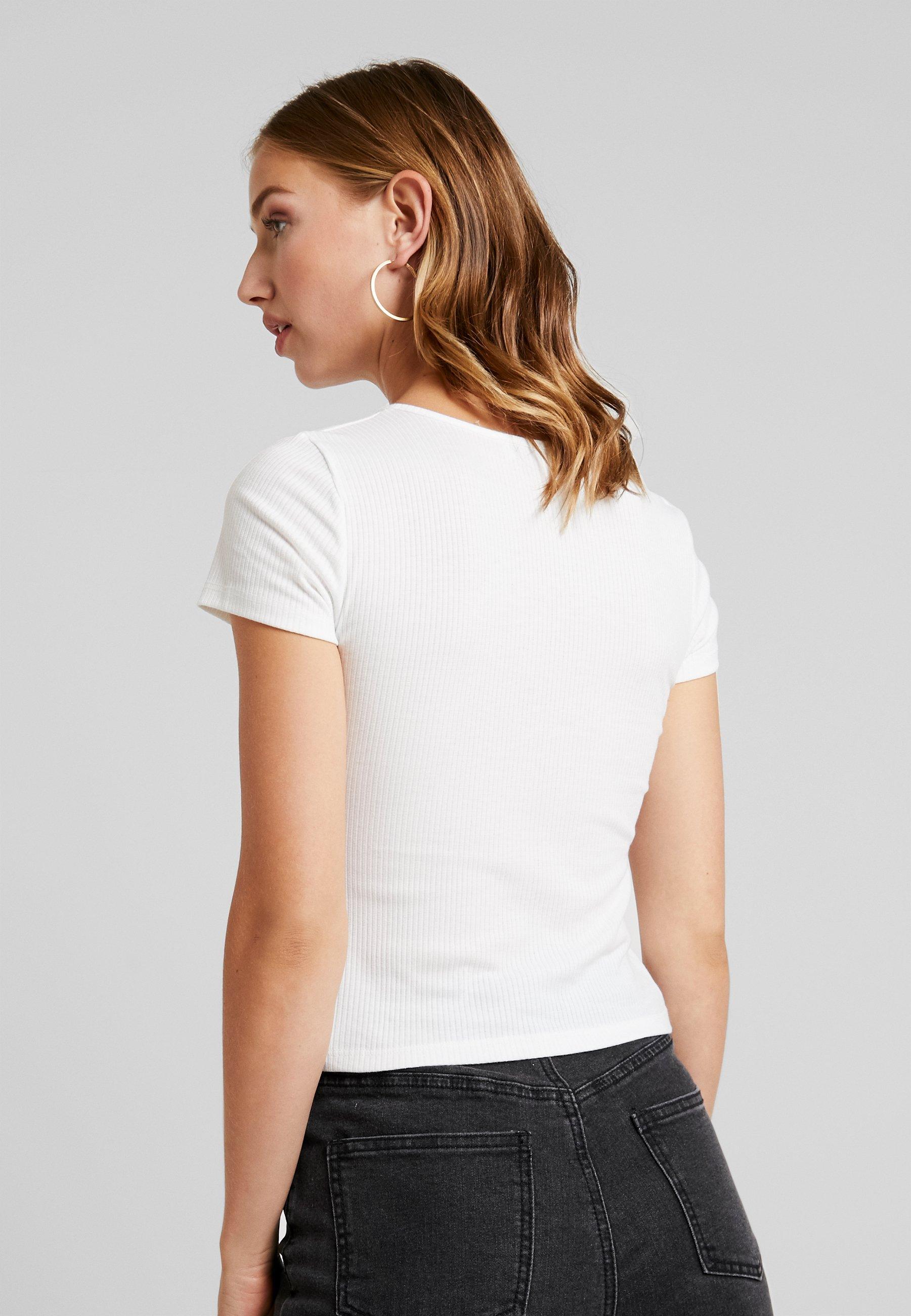 White CoSquare NeckT shirt Imprimé Hollister JKlFTc1