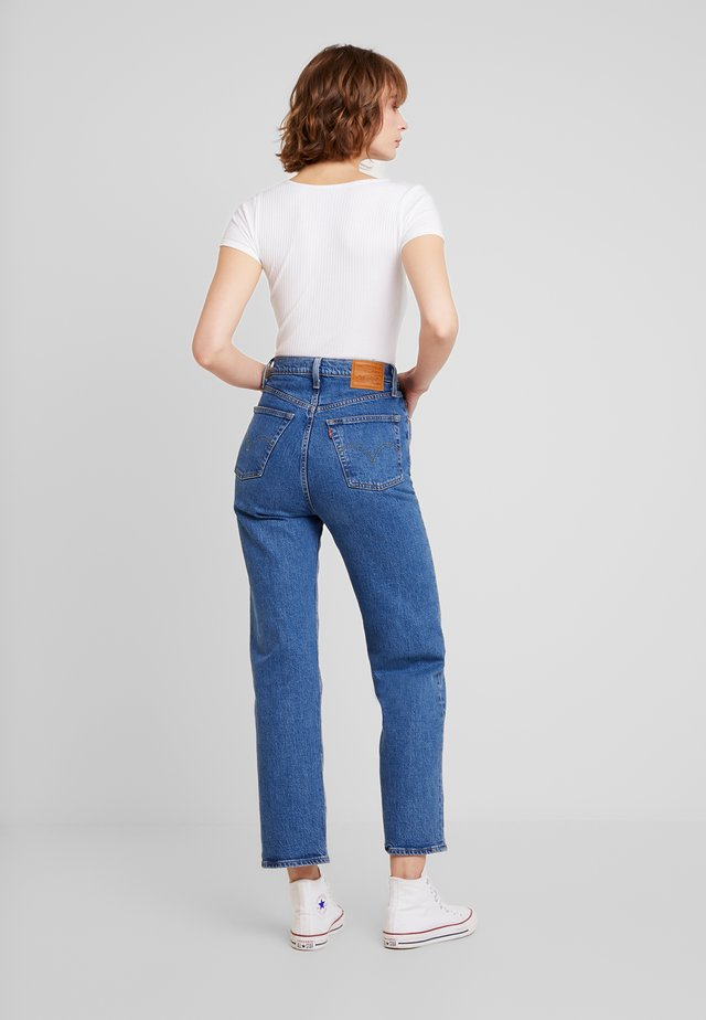 SLIM HENLEY - T-Shirt print - white