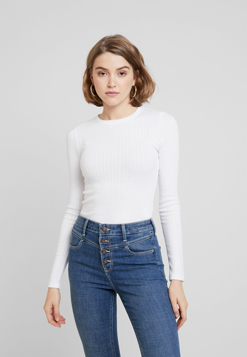 Hollister Co. - BASIC TEXTURE - Long sleeved top - white