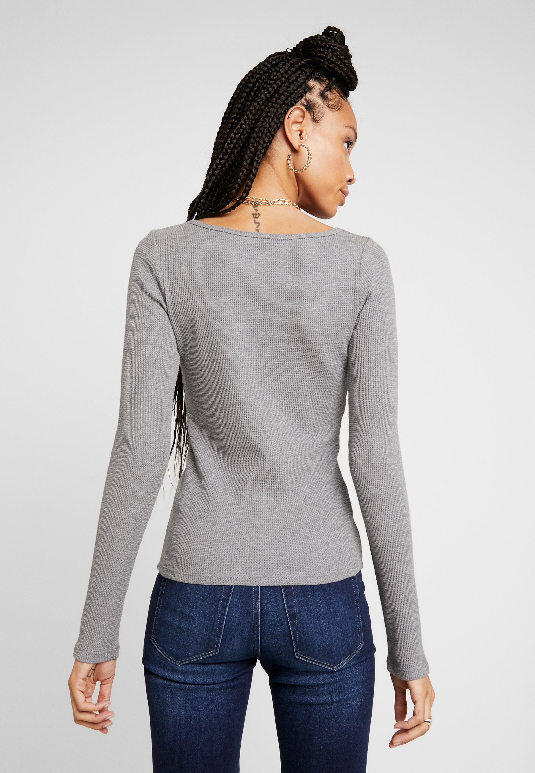 Hollister Co. LONG SLEEVE SLIM WAFFLE CREW - T-shirt à manches longues grey