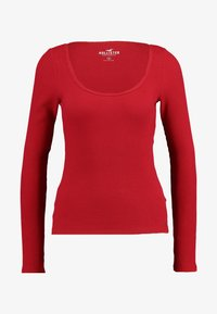 Hollister Co. - LONG SLEEVE SLIM WAFFLE CREW - Long sleeved top - red - 4