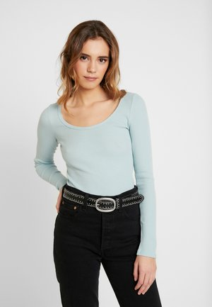LONG SLEEVE SLIM WAFFLE CREW - Long sleeved top - light blue