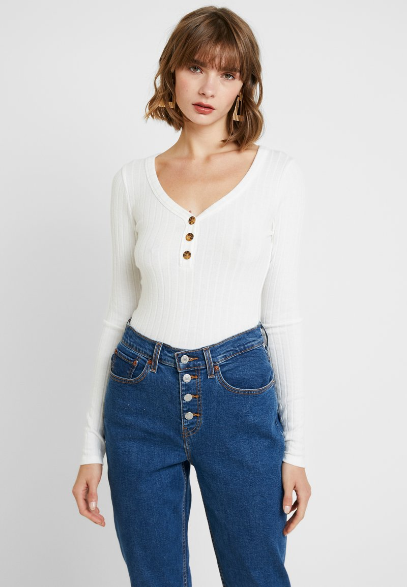Hollister Co. - LONG SLEEVE BUTTON HENLEY - Topper langermet - white