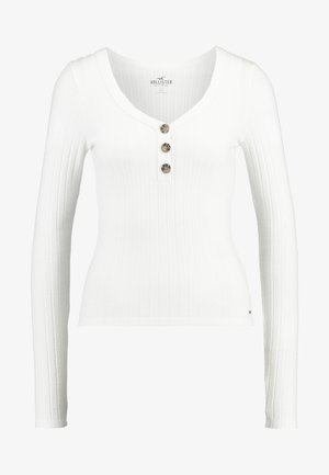 LONG SLEEVE BUTTON HENLEY - Long sleeved top - white