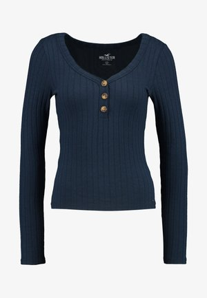 LONG SLEEVE BUTTON HENLEY - Long sleeved top - navy
