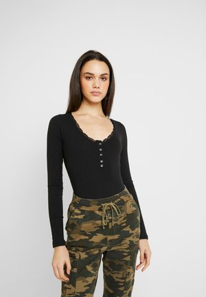 LACE TRIM HENLEY - Long sleeved top - black