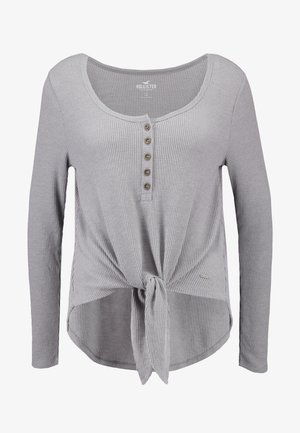 EASY HENLEY TIE FRONT - Long sleeved top - grey