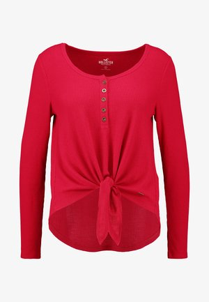 EASY HENLEY TIE FRONT - Bluzka z długim rękawem - red