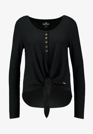 EASY HENLEY TIE FRONT - Long sleeved top - black